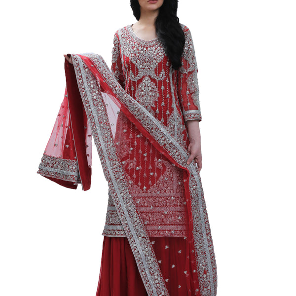 Red & Silver Cotton Net Gota Bridal