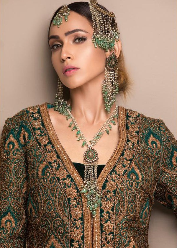 Green Velvet Naqshee Coat with Izaar