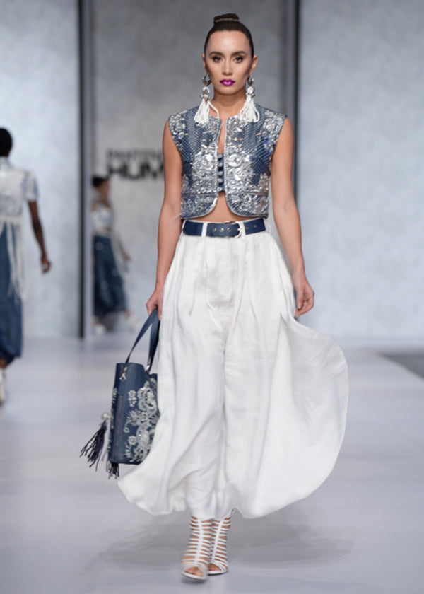 Crop Top with Silver Embellishments and Layered Trouser Skirt