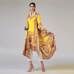 RENAISSANCE GARLANDS ON PRINTED YELLOW SHIRT AND DUPATTA