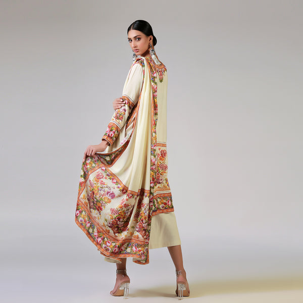 RENAISSANCE GARLANDS ON PRINTED OFF WHITE SHIRT AND DUPATTA