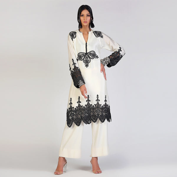 Madubani Black lace work kurta