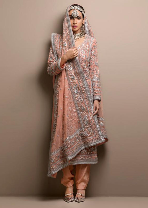 Pink Long Kurta, Trouser and Dupatta with Silver Gara Embroidery
