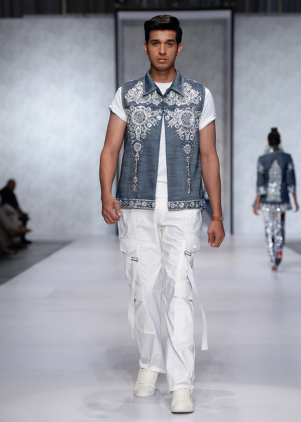 Men's Waistcoat in Denim with Silver-work