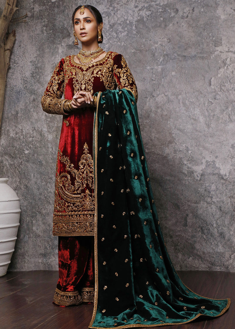 Shahbano Gold Dori Embroidered Red Velvet Long Shirt & Shawl