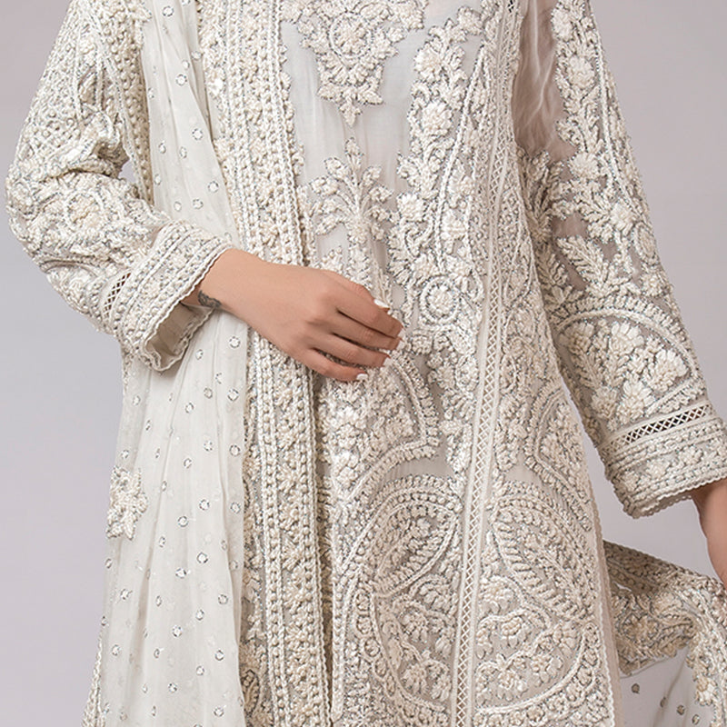 Silk Floss & Silver Outlined Heavily Embellished Kali Kurta