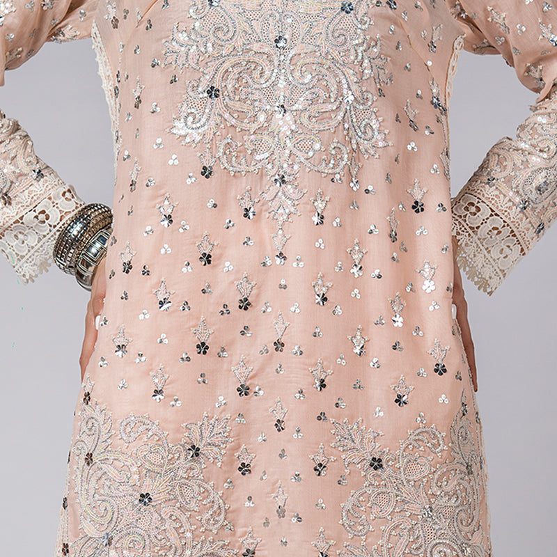 Pink Shadow Pearls and sequins Embellished Shirt
