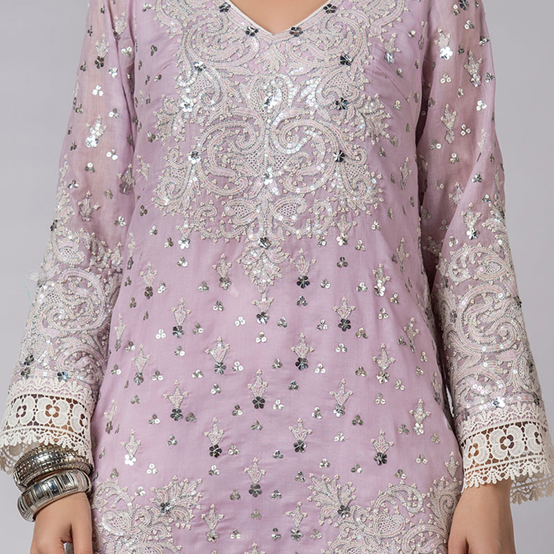 Lilac Shadow Pearls & Sequins Embellished Shirt