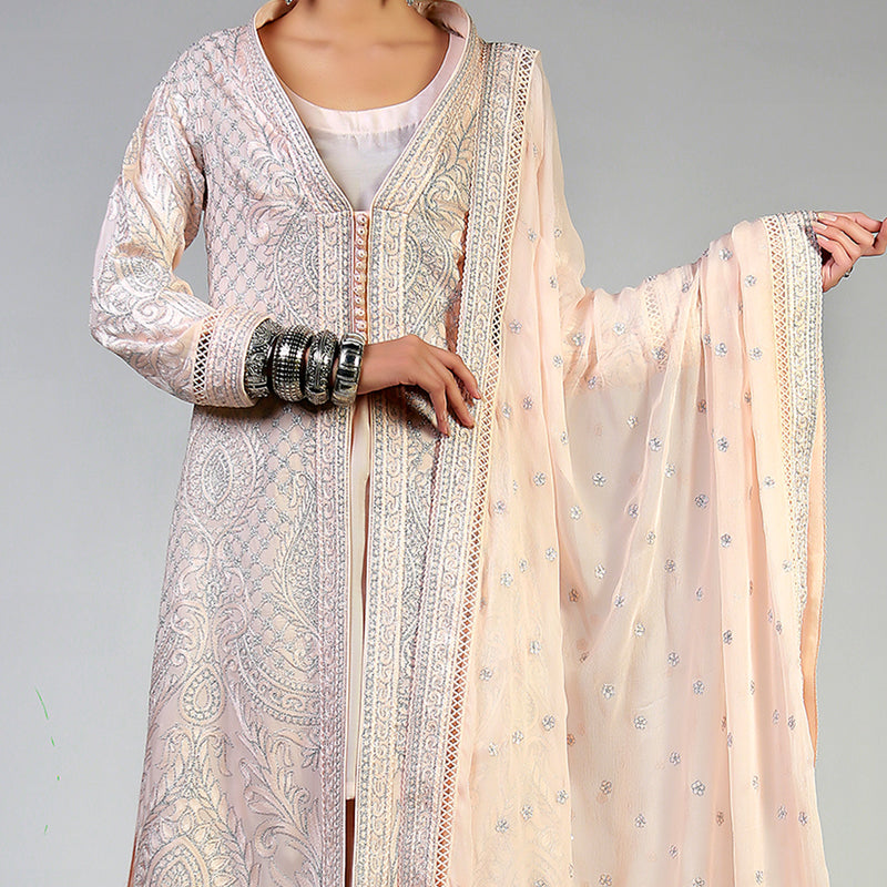 Dori Work on Blush Coat & Dupatta