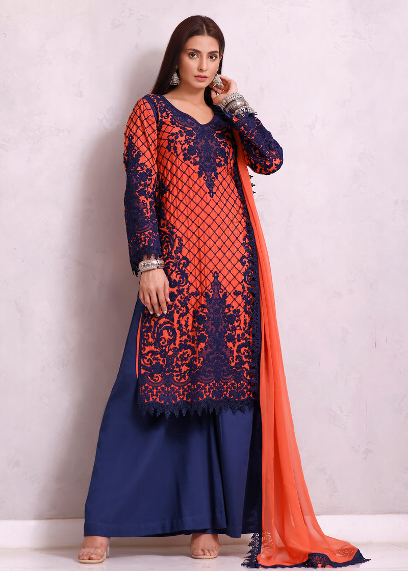 Navy Blue Silk Floss Embroidered Handloom Net Shirt & Dupatta