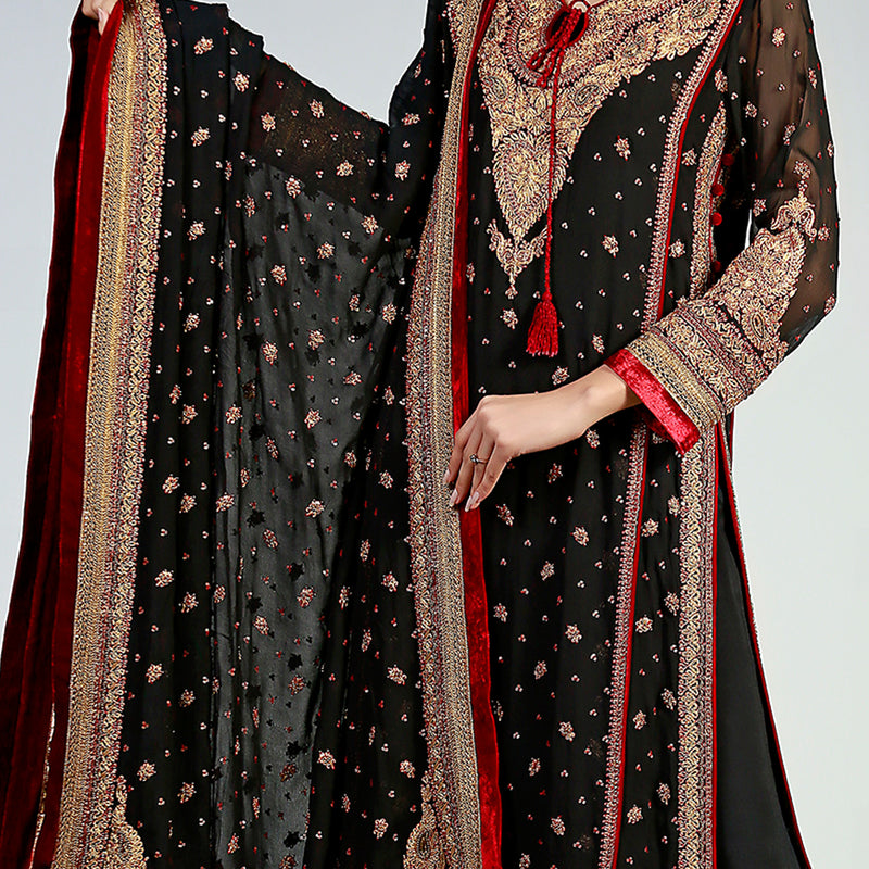Traditional Gold Marori on Black Chiffon Kurta & Dupatta