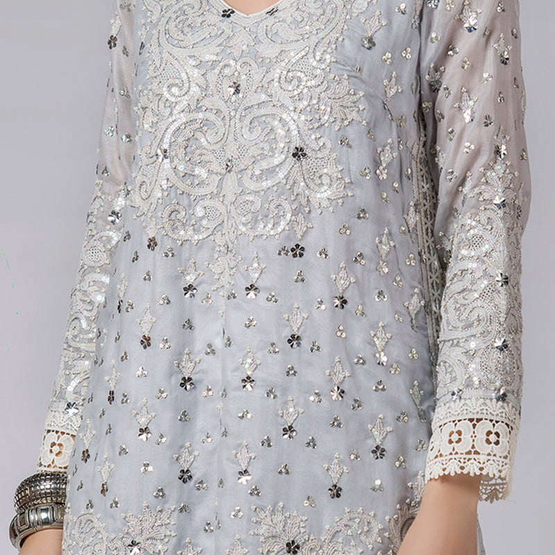 Blue Shadow Pearls and sequins Embellished Shirt