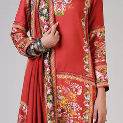 Renaissance Garlands on printed Red Shirt and Dupatta