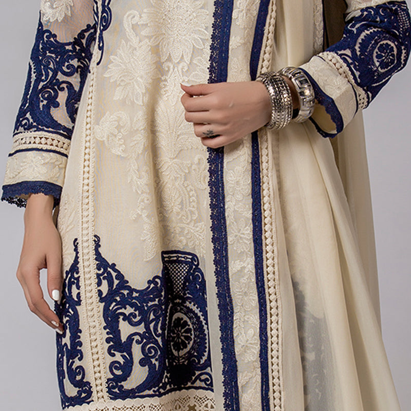 Blue & White embroidered Ivory  Cotton-Net Kali Kurta & Dupatta