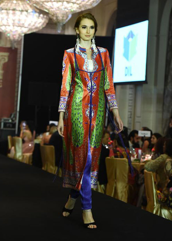 Red Base Printed Coat With Blue Dori