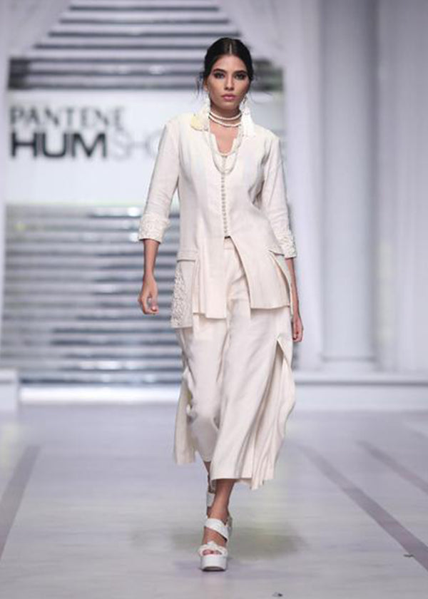 Mid-length Jacket with Embroidered Pockets and Plain Side Slit Skirt