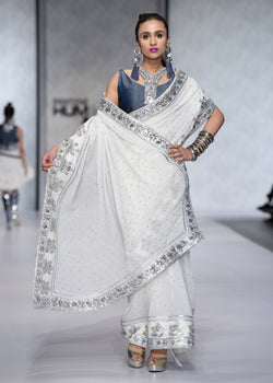 Saree with Silver-work on Borders and Blouse