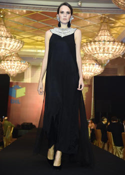 Black Long Dress Work On Neck