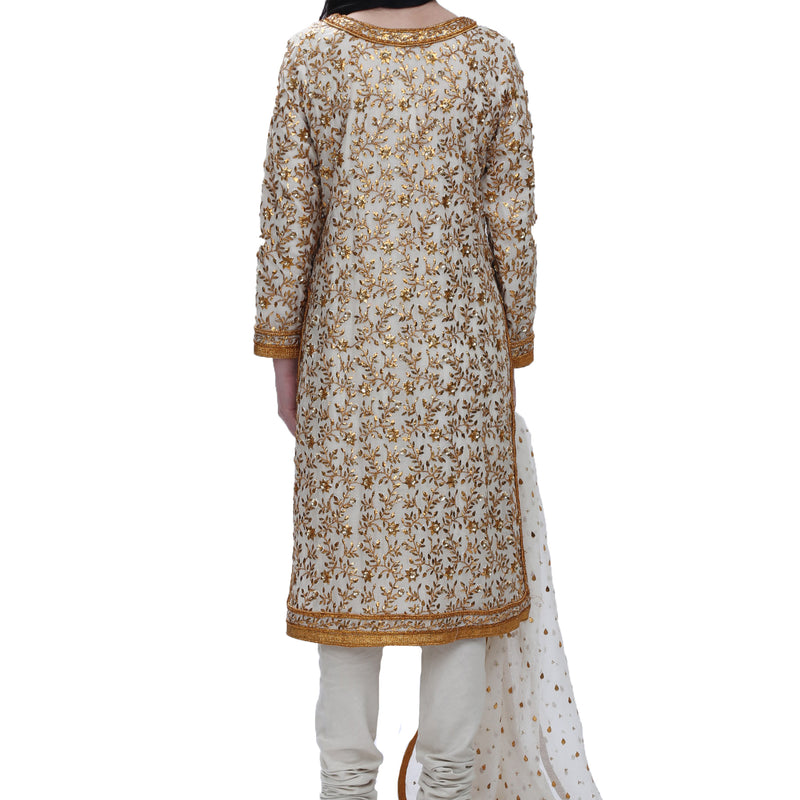 Gold Indian Gota and Sequins Kameez-Dupatta-Chooridar