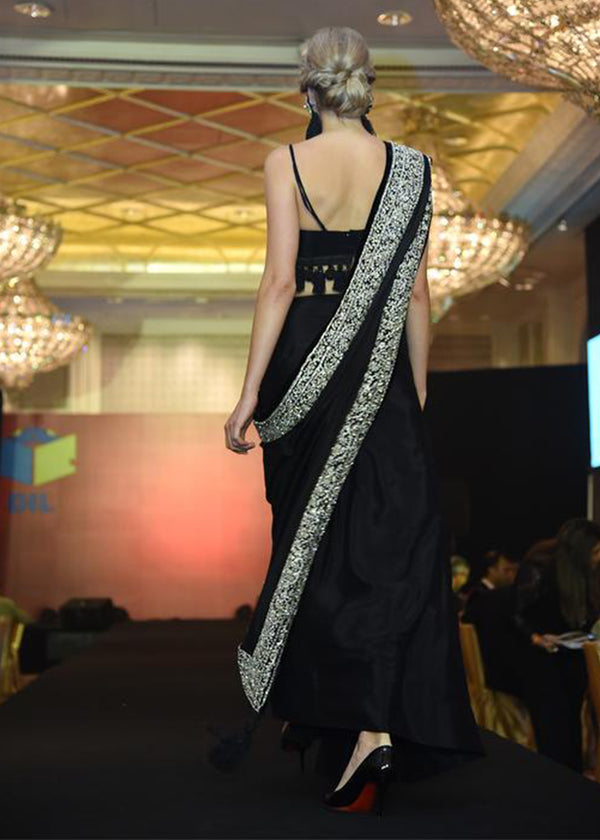 Black Diamante Saree