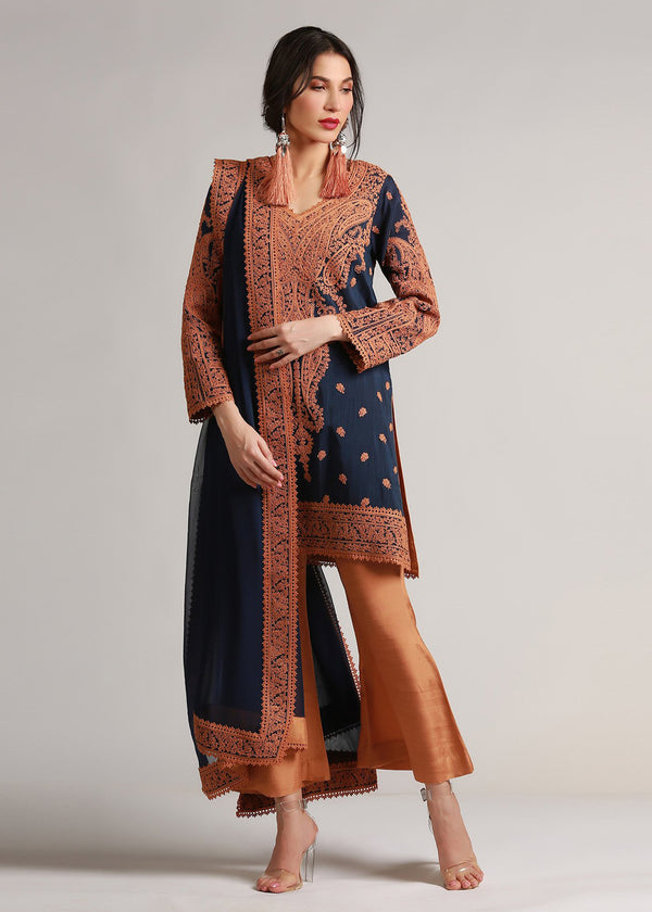 Tan Marori Embroidered Navy Blue  Silk Kameez & Dupatta