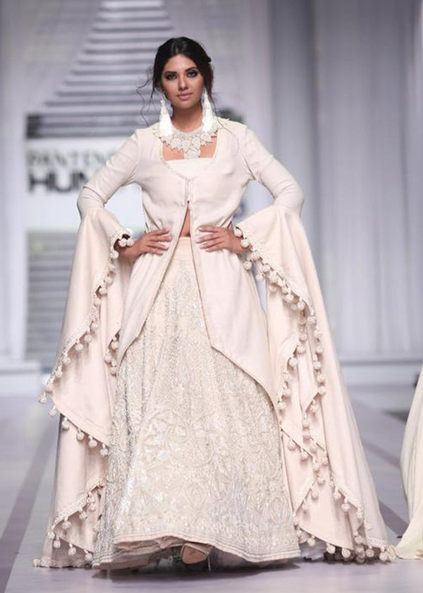 Floor-length Tassel Sleeved Gown with Heavy Lehenga