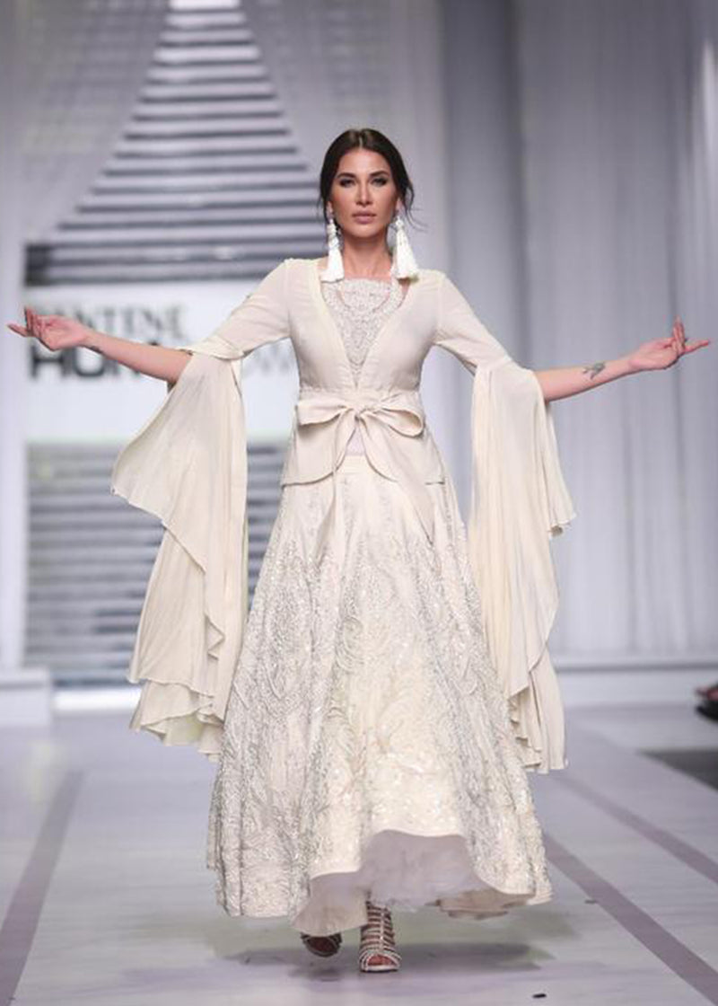 Jacket with Trailing Sleeves worn with a Paneled Lehenga