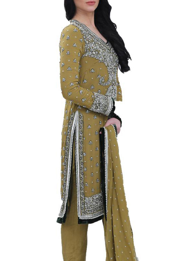 Mustard Green Kurta & Dupatta with White & Silver Embroidery