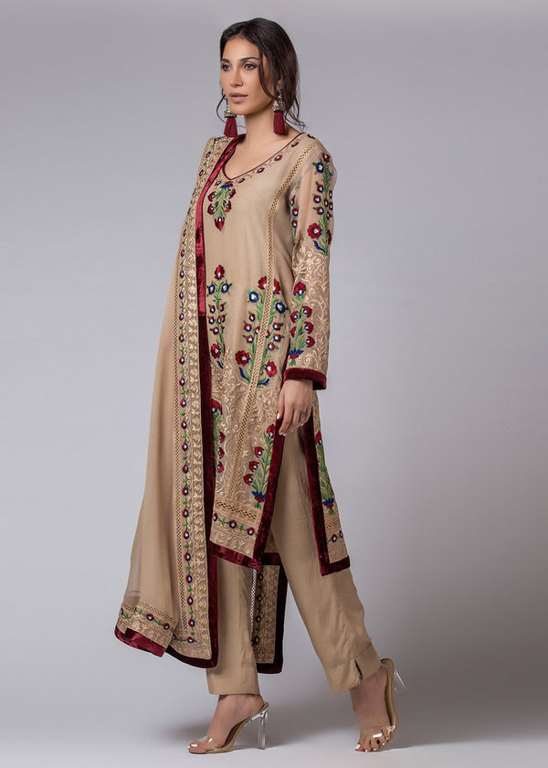 Biscuit brown Flower Kali Kurta & Dupatta