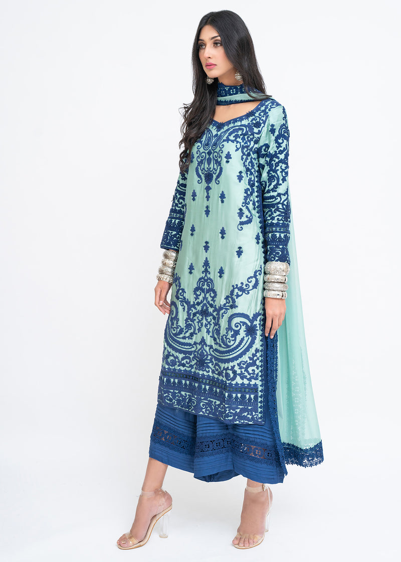 Blue Dori Embroidered Green Long Shirt