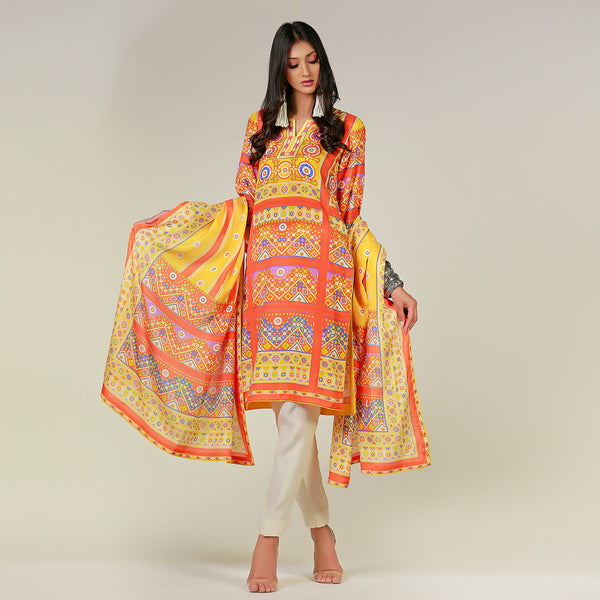 Baluchi Sheesha Yellow Kurta