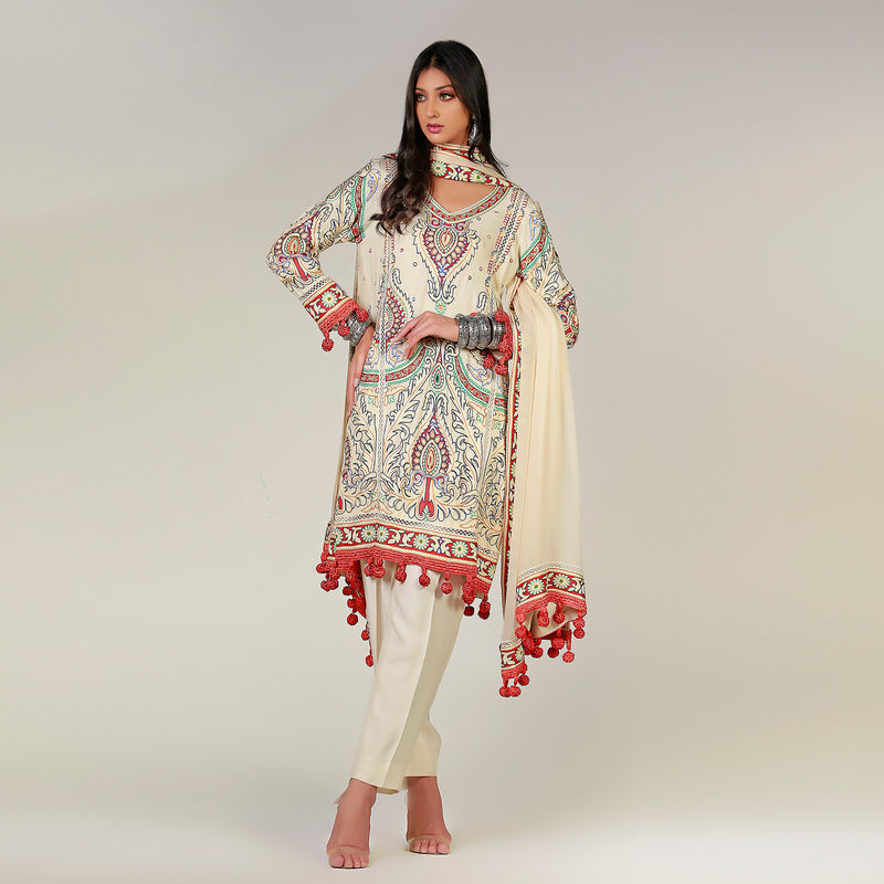 Multi-colored Crewel Work Cotton-Silk Pink Kurta & Dupatta