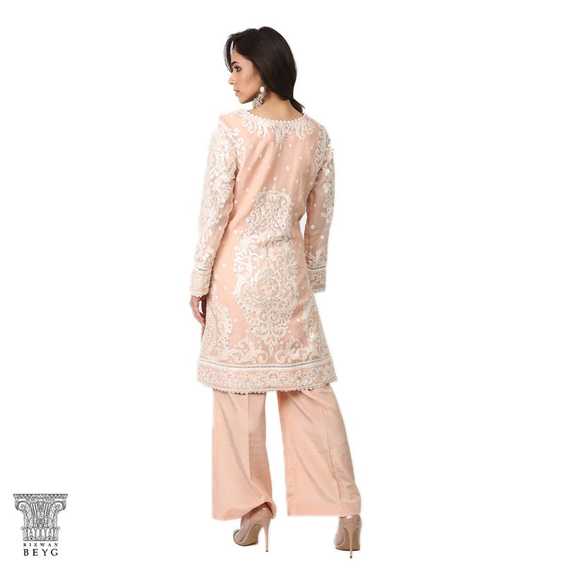 Peach Shadow work & Sequins Kurta & Dupatta