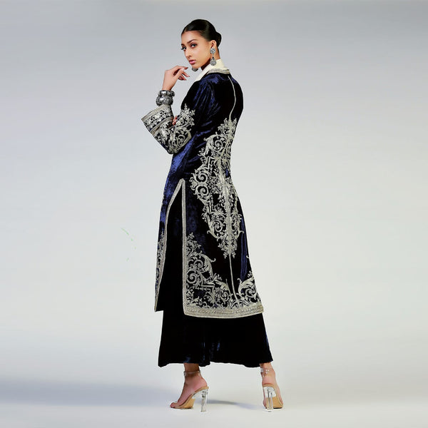 Renaissance Scrollwork on Deep Royal Blue Vintage Style Velvet Coat