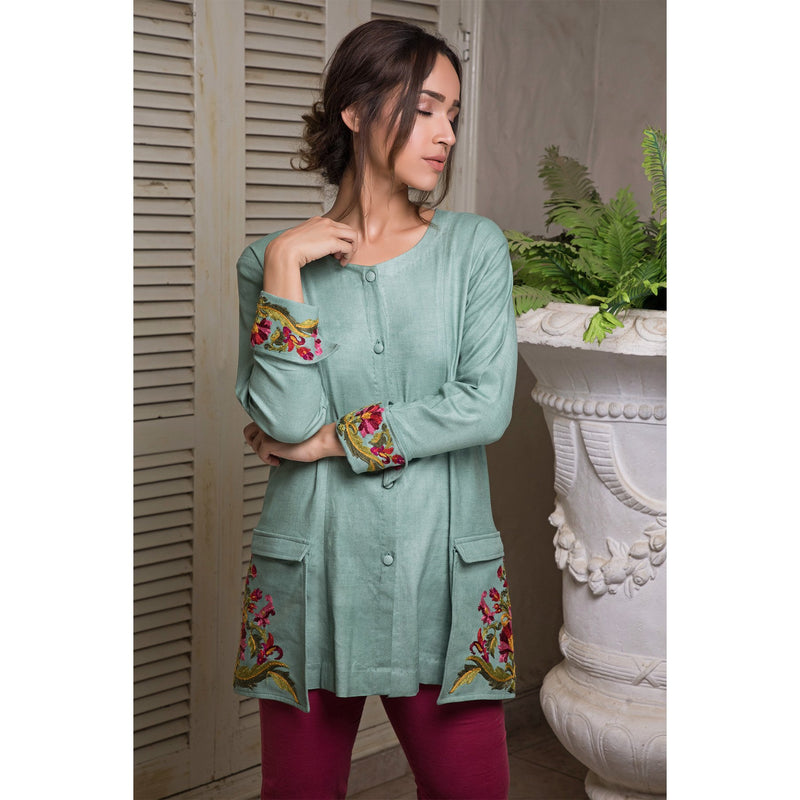 Casual Jacket with Embroidered Pockets and Sleeves