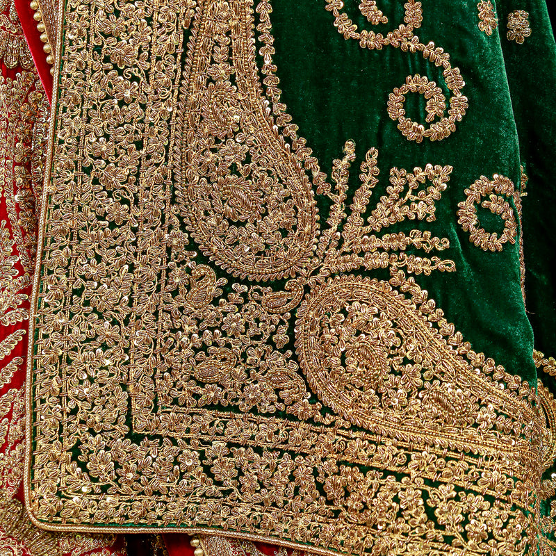 Memoni Naqushi Maroon Lehanga with Green Marori Choli & Shawl