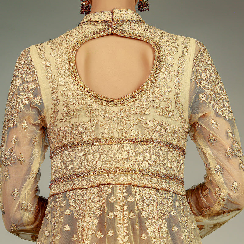 Classic Gold Peshwaz with Heavy Dupatta and Lehenga