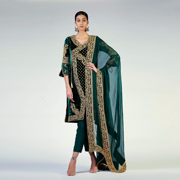 Antique Gold Embellished Angarkha Style Green Velvet Shirt And Dupatta