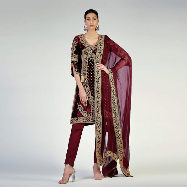 Antique Gold Embellished Burgundy Angarkha Style Velvet shirt and dupatta