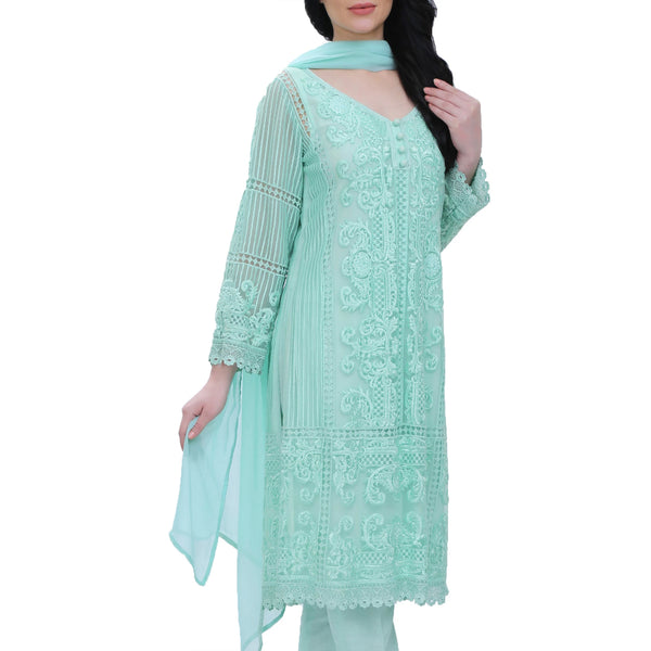 Aqua Embroidered Cotton-net Kurta