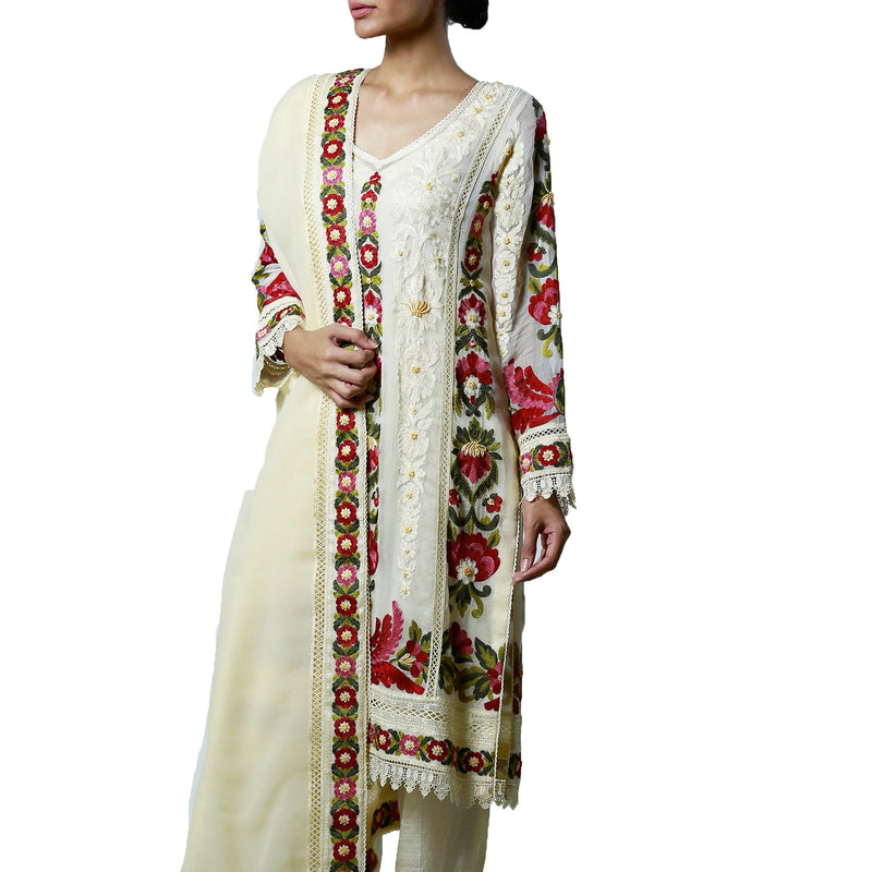 Multi-colored embroidered Ivory Kali Kurta & Dupatta