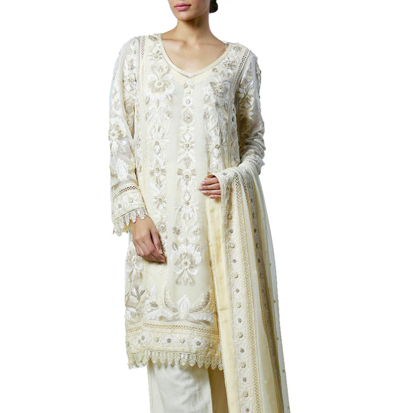 Beige Springs and French Knots embroidered Off-White Kali Kurta & Dupatta