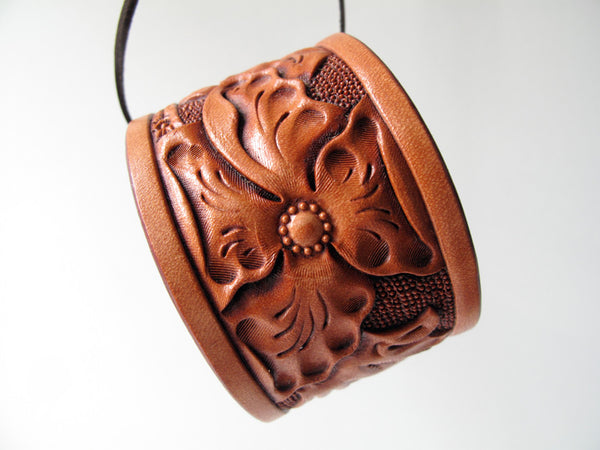 Hard Carved Wild Rose Cuff