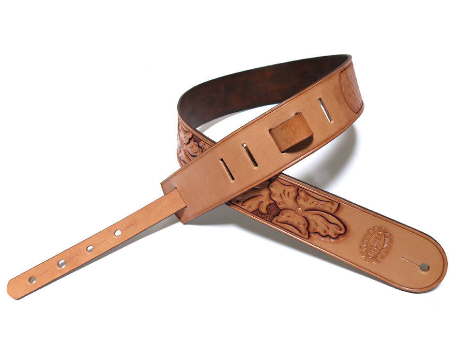image from Hand Carved Wild Rose Guitar Strap