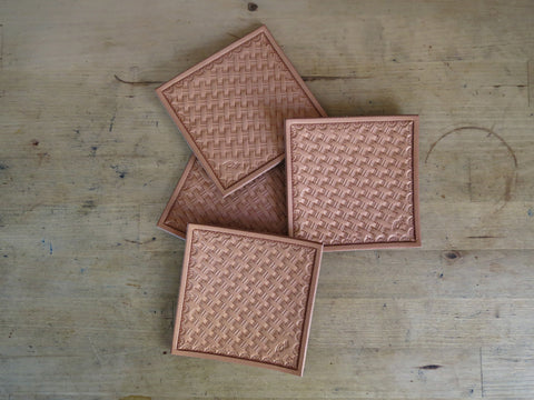 Hand Stamped Leather Coasters x 4