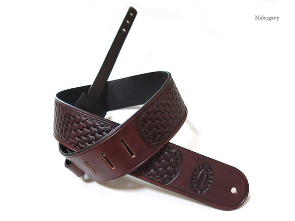 Tri-Weave Stamped Leather Guitar Strap