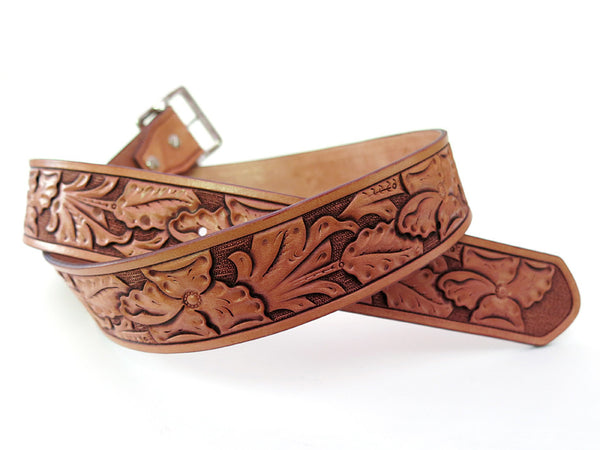 Hand Carved Wild Rose Belt