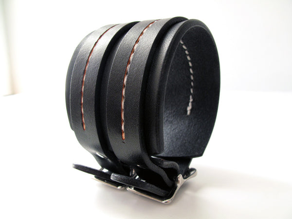Double Strap Saddle Stitch Cuff / Custom Browns