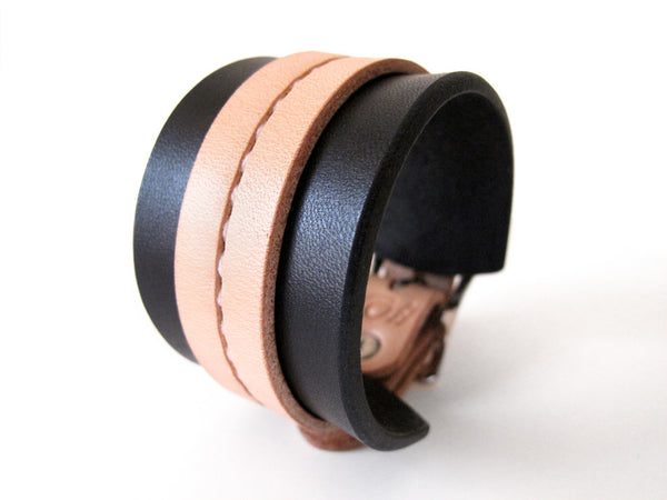 Black & Tan One Strap Saddle Stitch Cuff