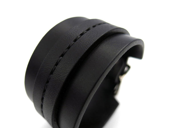 All-Black One Strap Saddle Stitch Cuff